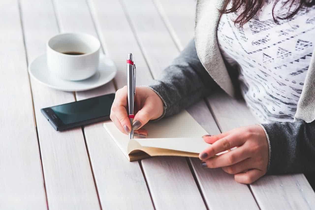 woman having coffee writing