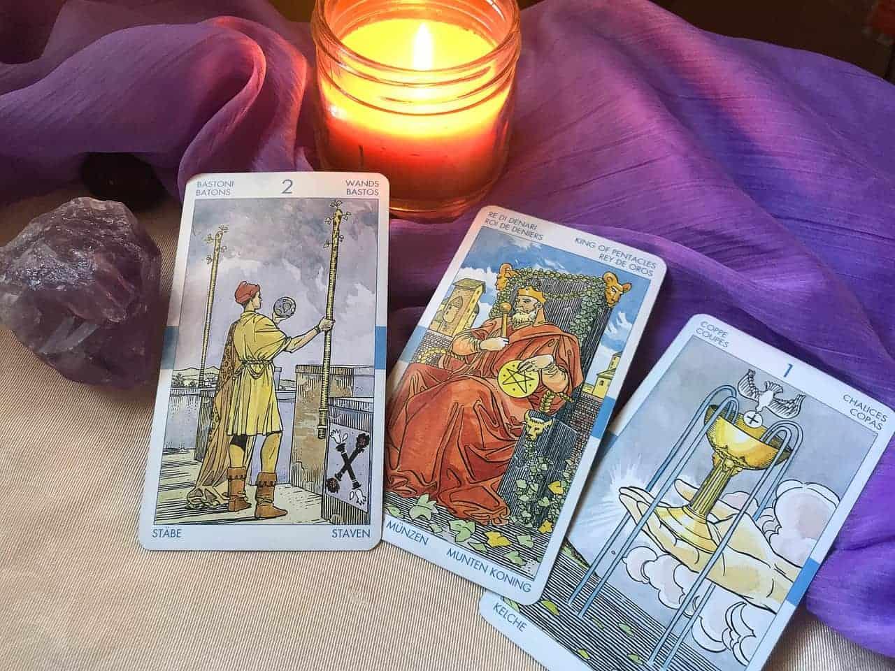 tarot cards purple cloth