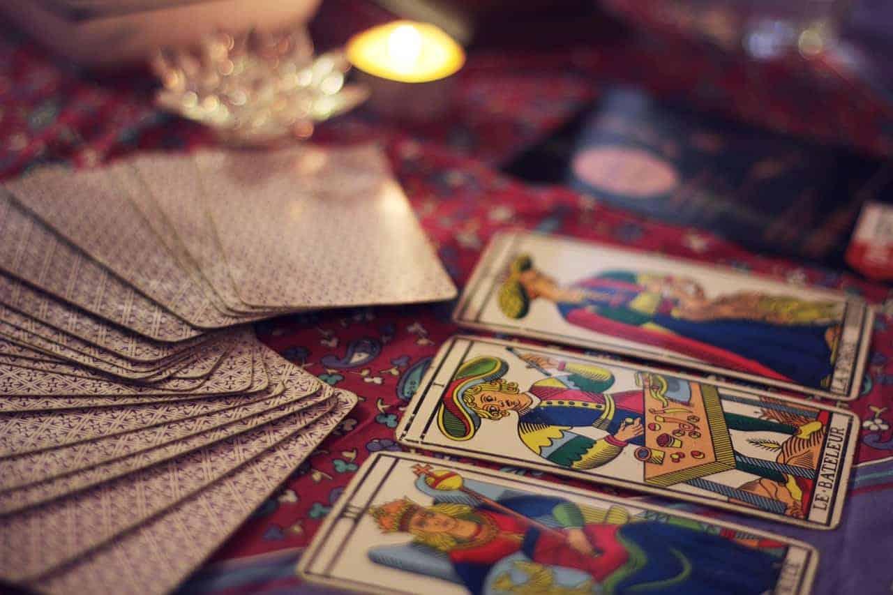 tarot cards arranged