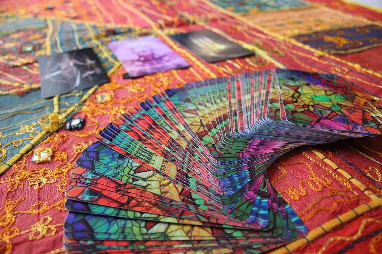 deck colorful tarot cards