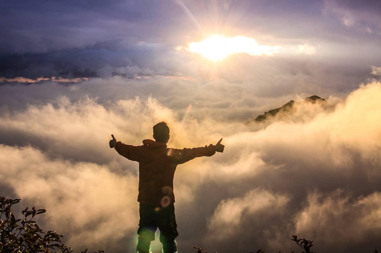 spiritual awakening clouds man