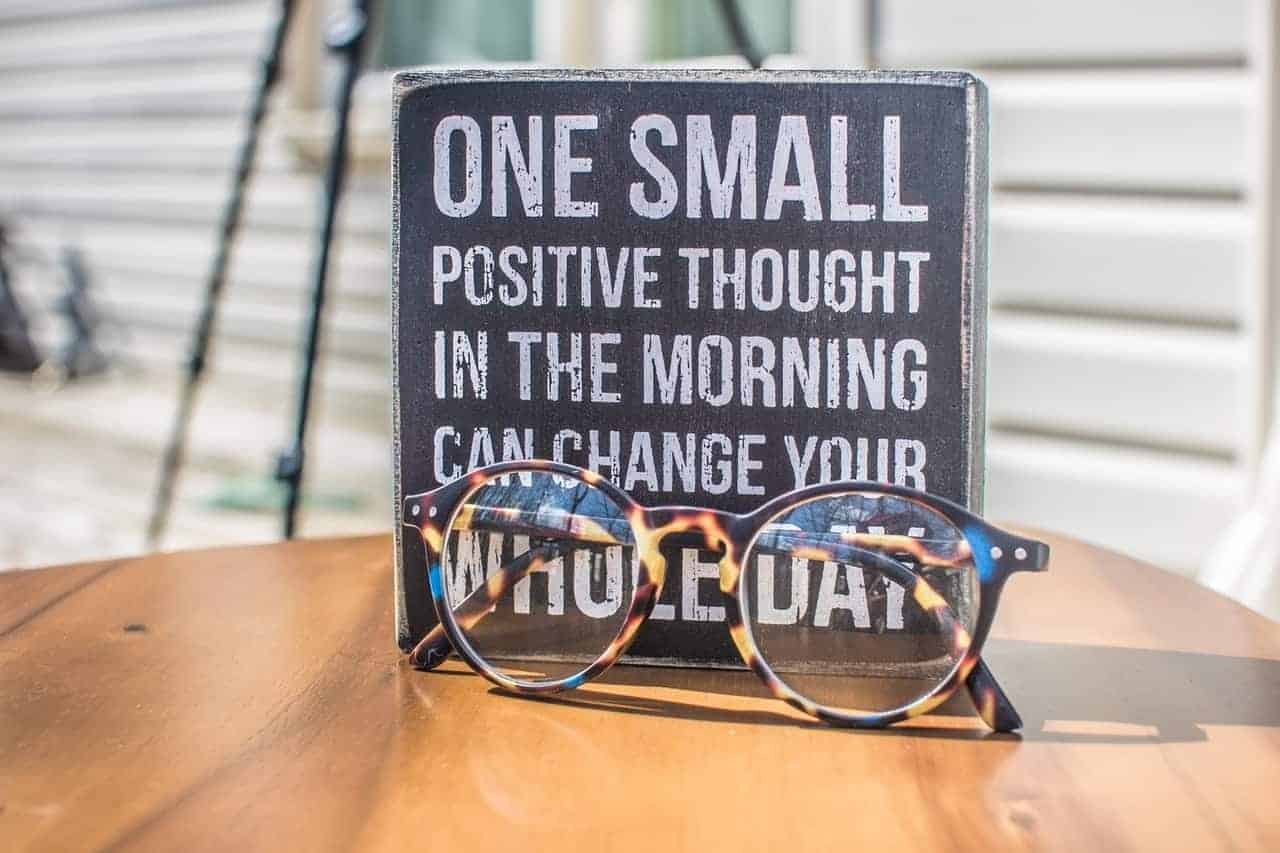 positivity quote glasses