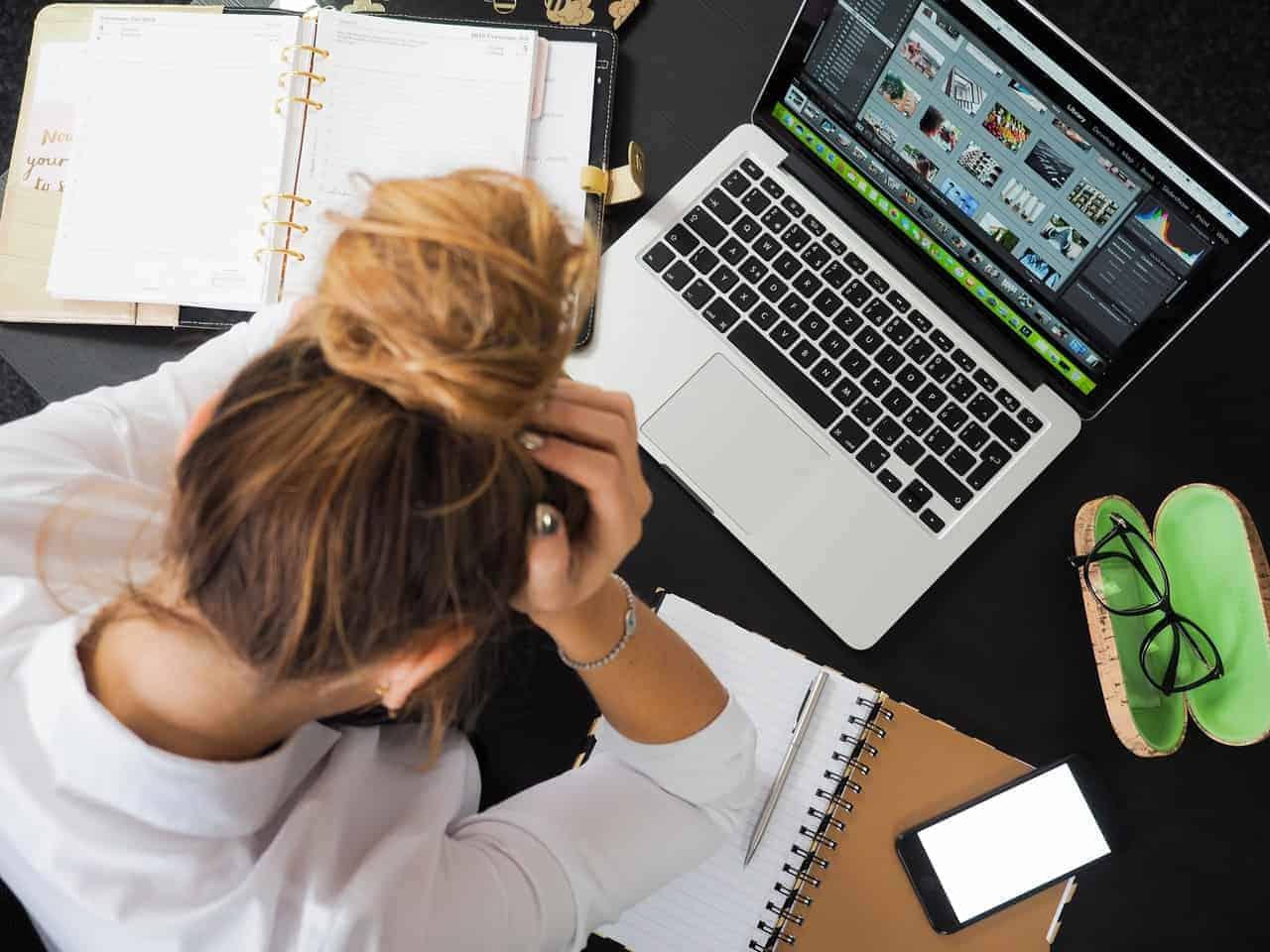 woman working hard