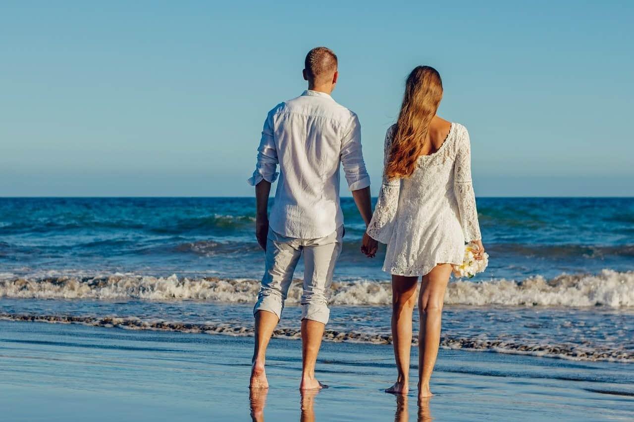 married couple beach
