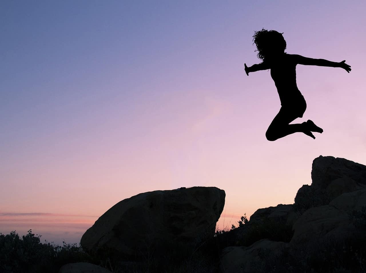 taking a leap woman