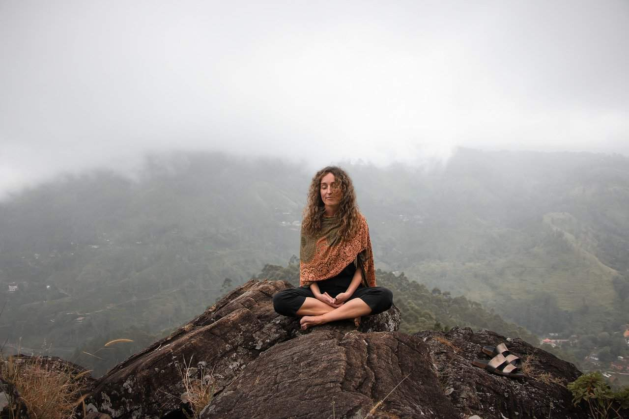 woman meditation positive vibes