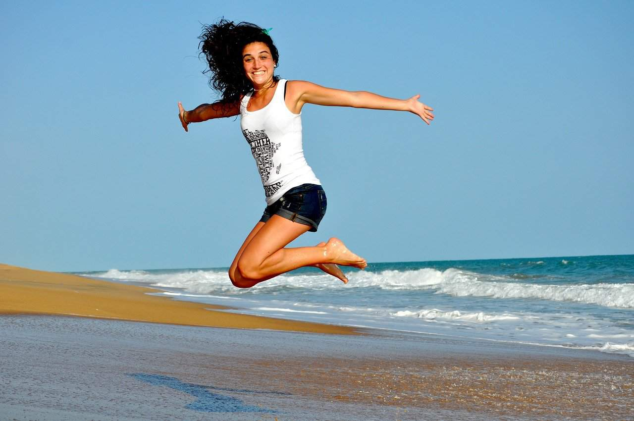 happy person jumping