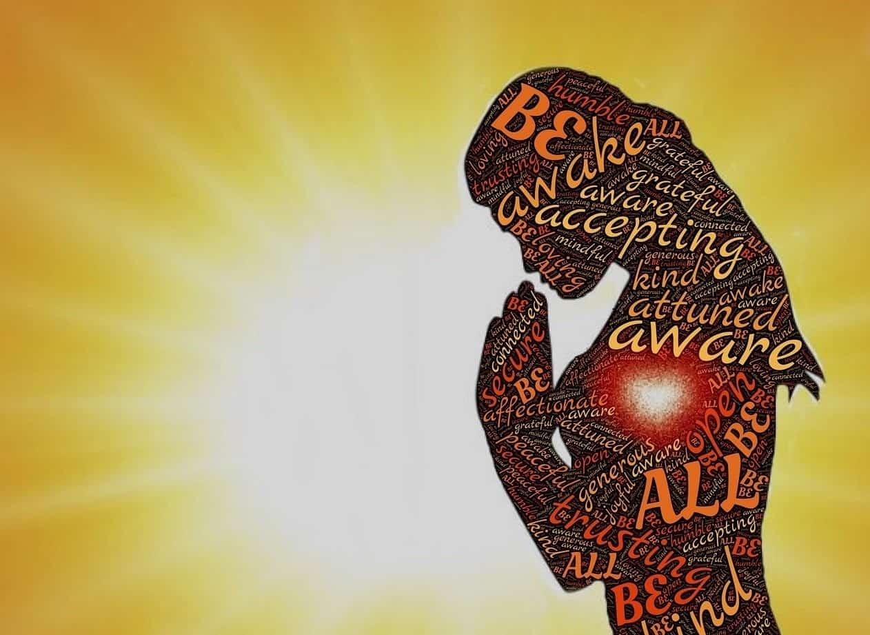 words woman meditate