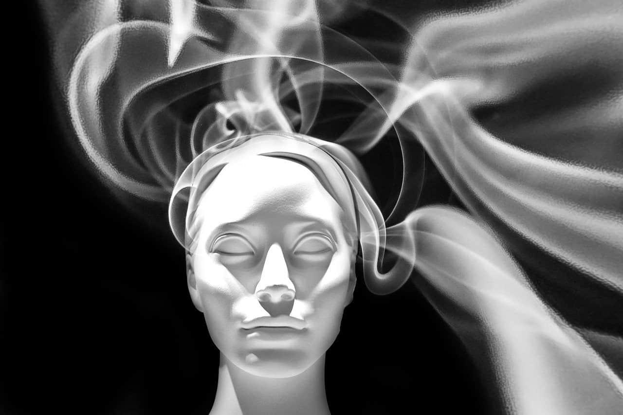 woman smoke flame