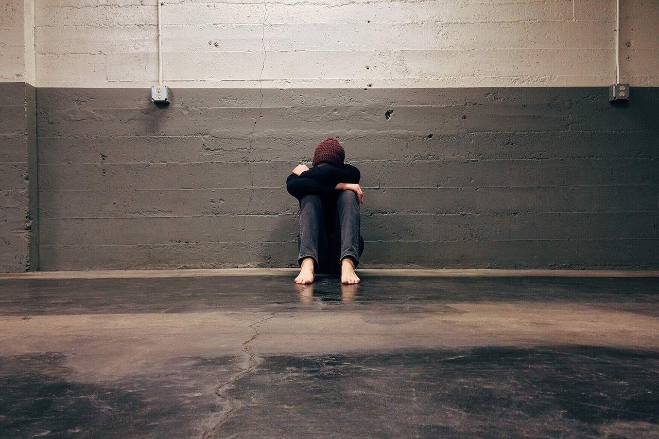 man sad floor
