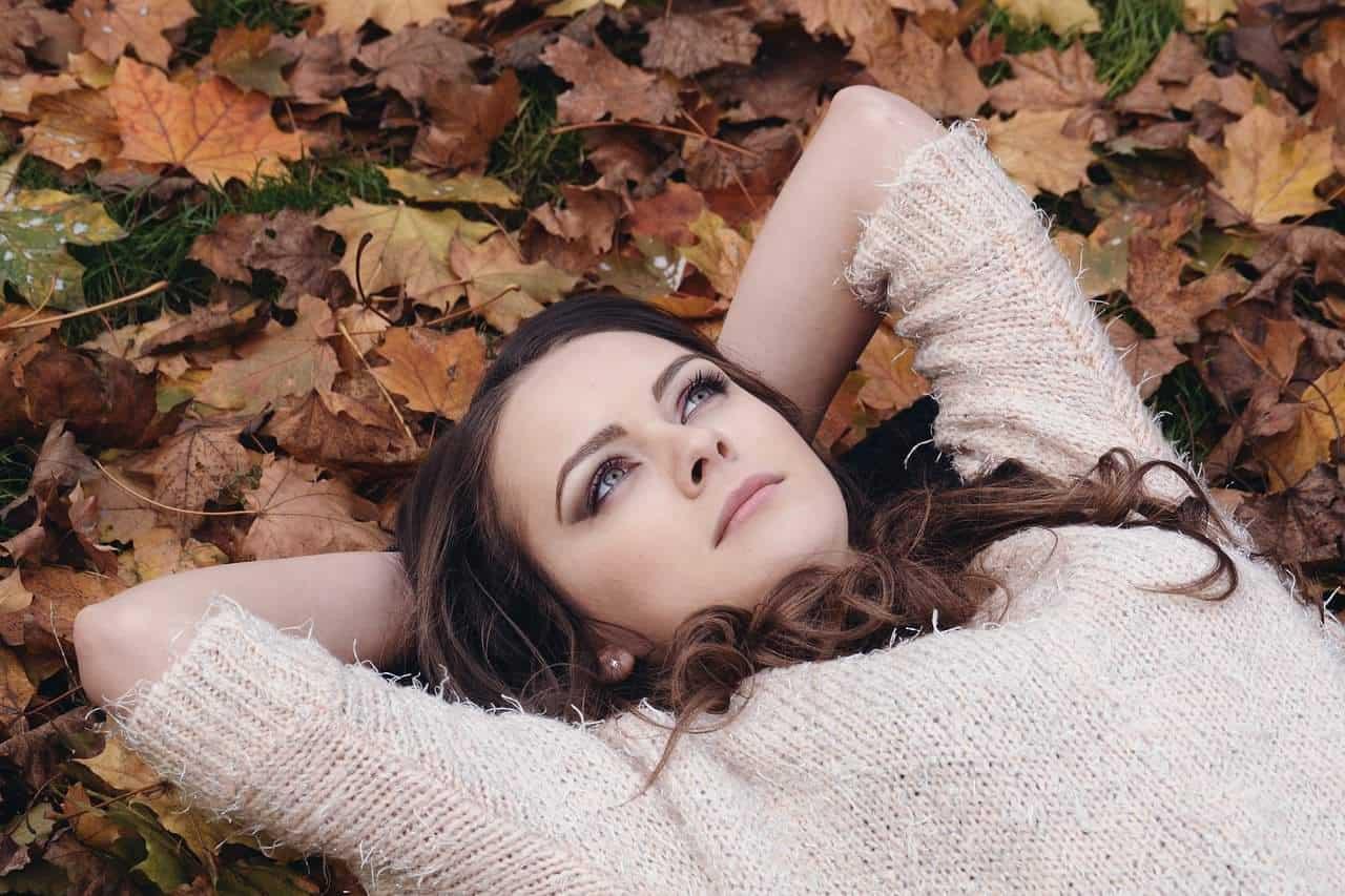 autumn woman thinking