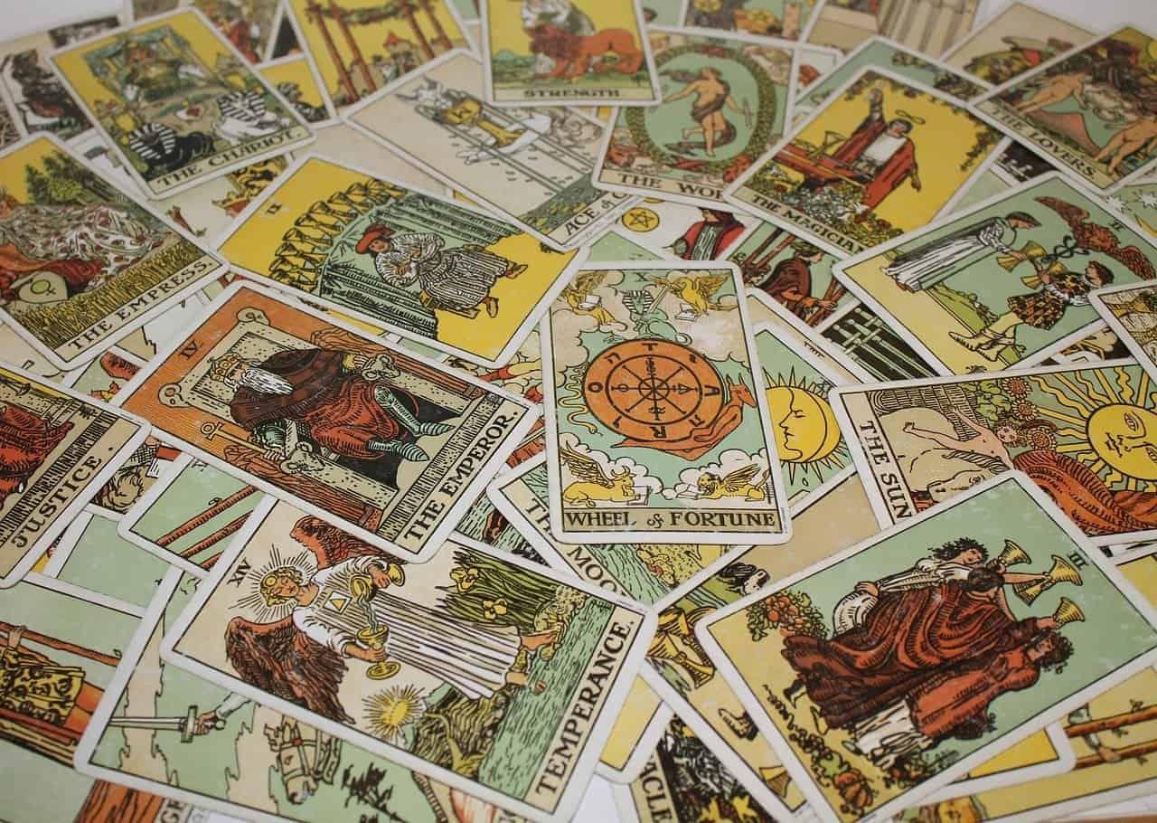 tarot cards pile