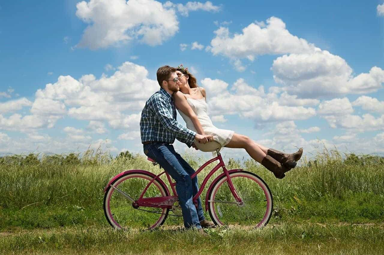 young couple bike