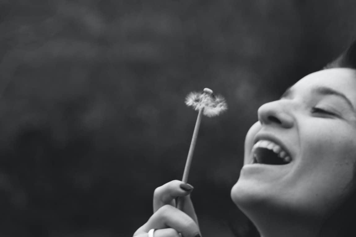 optimistic woman flower