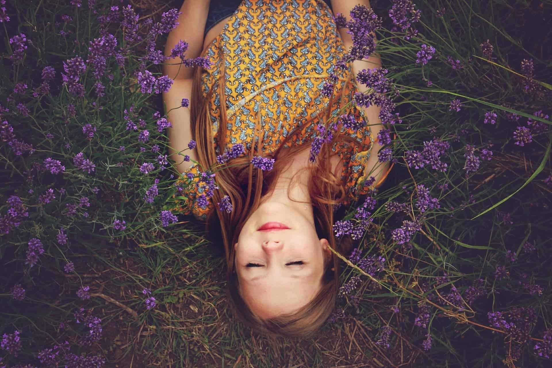 lavender flowers girl