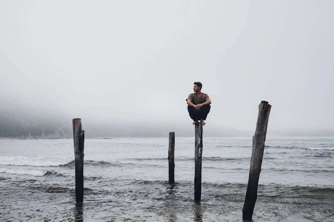 alone man balance
