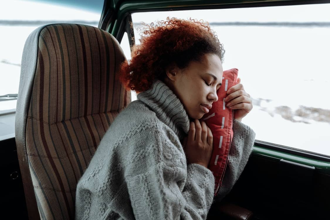sleeping on bus