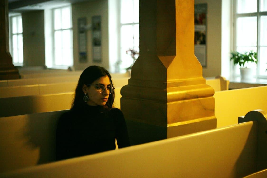 woman inside church