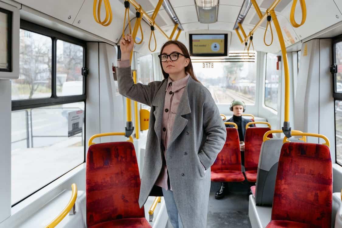 woman man in bus