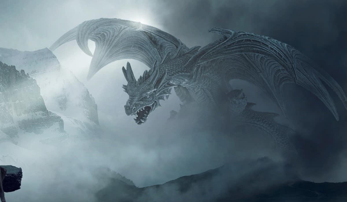 white silver dragon