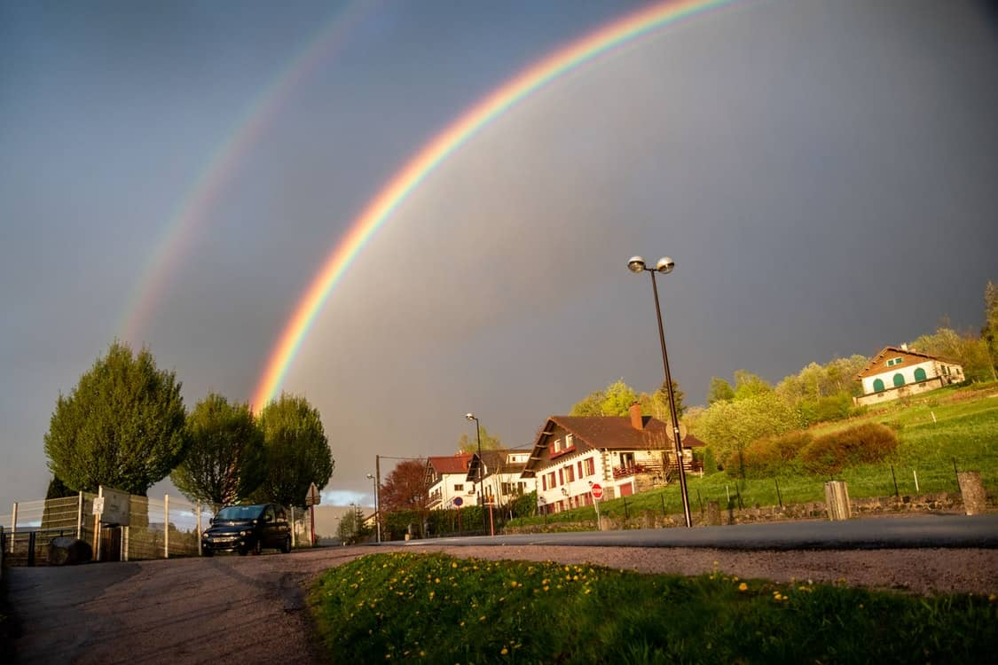 houses double rainbow