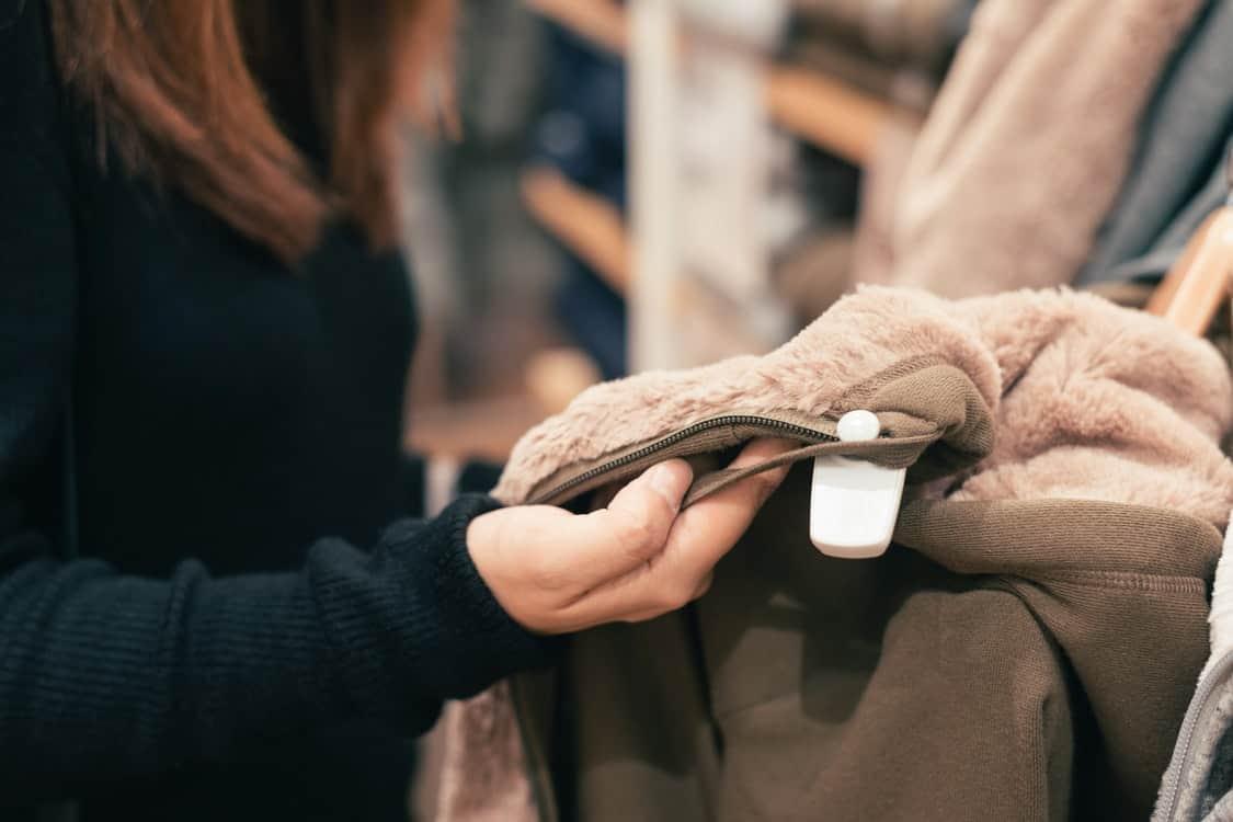 checking price tag